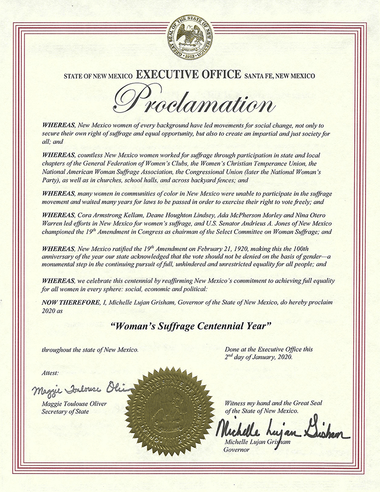 Proclamation 2020 Womans Suffrage Centennial Year Gov MLG